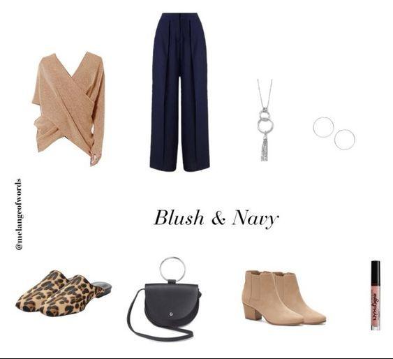 Blush and navy outfit, minimalist fashion
